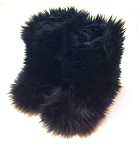 Jet Black Fluffy Boots for Kids