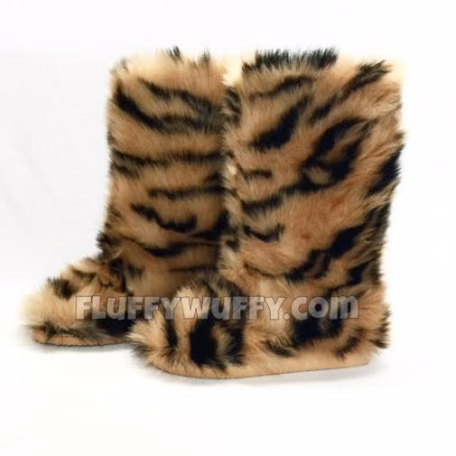 Bengal Tiger Faux Fur Boots