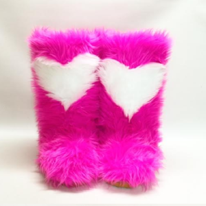 Hot Pink boots - White Heart