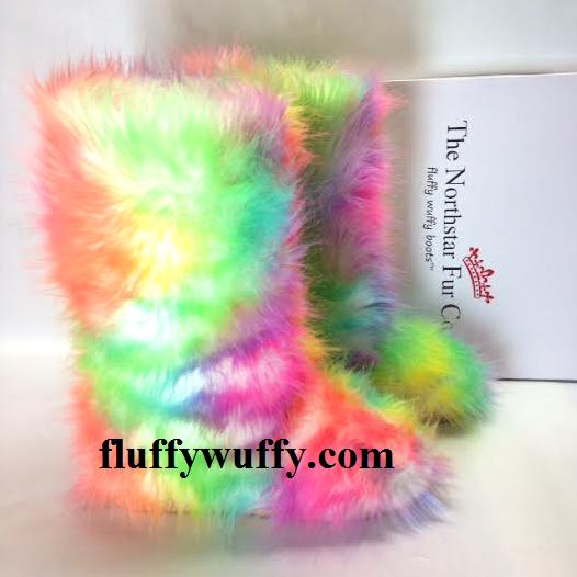 Rainbow - TieDye- Fluffy Wuffy Boots
