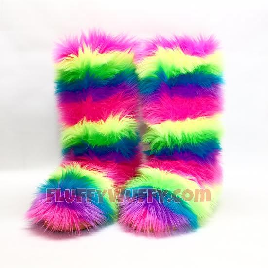 Rainbow - Electric - Fluffy Wuffy Boots